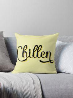 'Chillen German Deutschland Slang' Throw Pillow by Dialectees Floor Pillows, Bed Pillows, Cushions, Yellow Pillows, Black N Yellow, Script, Bedroom Ideas, Ireland, Family Room
