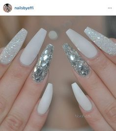 Matte White With Diamond And Silver Flakes