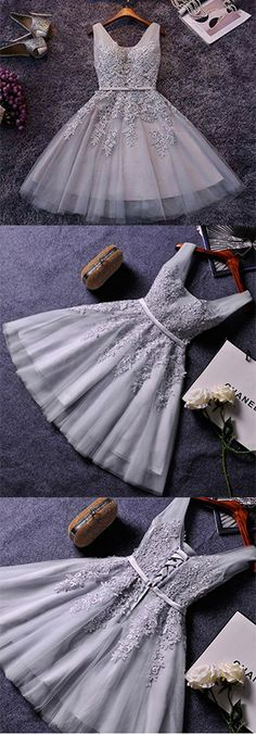 Princess Grey V-neck Lace Appliqued Homecoming Dresses,Tulle Sleeveless Short Prom Dresses,H009