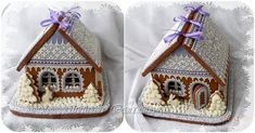 """Gingerbread house in lavender and lace, """"Winter Lace"""" 2 by Irina, posted at   Cookie Connection"""