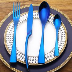 4 PCS/SET Stainless Steel Cutlery Set Blue Dinnerware Gifts Mirror Polishing Silverware Sets Dinner Scoop Knife and Fork Set #Affiliate