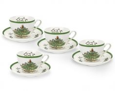 SPODE Christmas Tree Coffee Cups w/Saucers