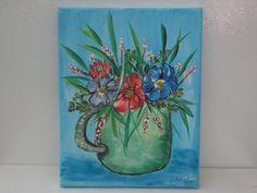 Acrylic on Canvas Pot of Flowers