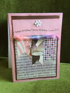 Happy birthday card with crown shabby chic by buttonsandbottles on Etsy
