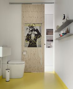 V celém bytě jsou hladké bílé lité podlahy, v koupelně hygienickou zónu určuje ostře žlutá plocha.