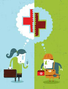 This illustration for Benefits Selling magazine accompanied an article about how workers and employers have different ideas about what health care benefits they need.