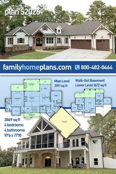 Craftsman House Plan 52026 is amazing both inside and out. For parking, this modern Craftsman design offers an angled 3 car garage with carriage house style doors. On the main level, we find an open floor plan and split bedroom layout. Traffic flows freely in the living space for parties, but when the night is over, parents and kids will retire to opposite sides of the house. Screened porch and the open deck areas. Anchoring the room is a large fireplace with stone and surrounding built-ins. Modern Craftsman, Craftsman Style House Plans, Basement Floor Plans, House Floor Plans, Walkout Basement, Luxury Floor Plans, Luxury House Plans, Family House Plans, House Blueprints