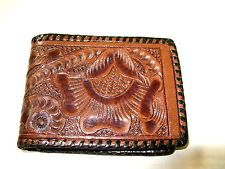 Vintage Western Style Hand-Carved Leather Wallet, Bill-Fold FREE SHIPPING!