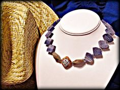 Blue Sponge Coral Necklace w Brown Zebra by RomanticThoughts, $40.00 #westernwear