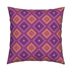 Catalan Throw Pillow featuring FRUIT SALADE HARMONY DIAMONDS LOZENGES 2 by…