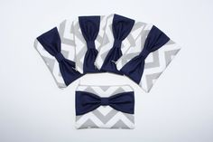 Bridesmaid Gift Set of Five Wedding Cosmetic Cases - Gray Chevron with Navy Blue Bow by AlmquistDesignStudio on Etsy