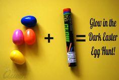 Plastic Eggs + Glow Sticks = Glow in the Dark Egg Hunt!