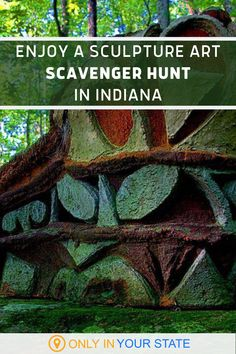 If you're looking for a unique hike, check out this sculpture trail and outdoor art museum in Solsberry, Indiana. There are over 100 different works you can find during a family friendly scavenger hunt. It's also great for a date. | Day Trip Ideas | Sculpture Gardens