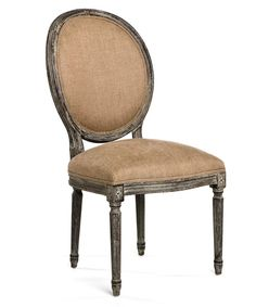 Medallion Side Chair - Limed Charcoal Oak with Copper Linen - Create beautifully symmetrical displays or intimate little corners with ease when you add the Medallion Side Chair to your seating. A sturdy current production which draws on the neo-Classical details of graceful old-world furniture, the upholstered accent chair has a tailored seat and a handsome cameo back with supports that form a sleek continuous line into fluted rear legs.