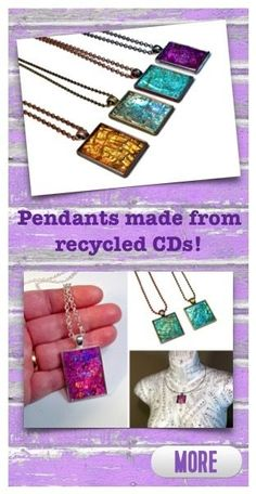 Jewelry made from recycled CDs and DVDs! Would you love to sparkle and shimmer? Click to see more #recycled #jewelry