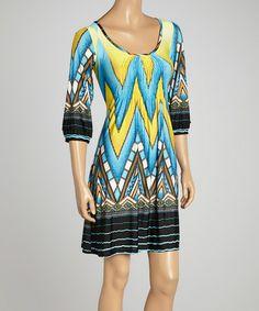 Look what I found on #zulily! Blue & Yellow Geo Ruched Dress #zulilyfinds
