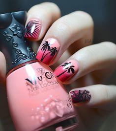 Palm tree // Tropical nails // Nail art