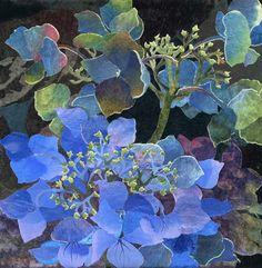 Blue Lacecap Hydrangea 3 by Amanda Richardson - textile collage Art Textile, Textile Artists, Watercolor Flowers, Watercolor Paintings, Watercolours, Flower Quilts, Landscape Quilts, Fabric Art, Thread Painting