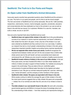 SeaWorld open letter