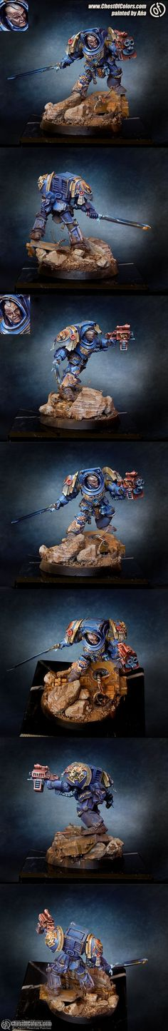 "Space Marine Commander:  This model was painted by Ana,  a female painted from Poland. She paints professionally now and has a blog called ""Painting Mom"" or something similar. She is part of a group of Polish painters who have the website Chest of Colors."