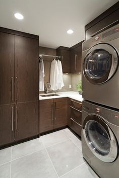 Weston - contemporary - laundry room - vancouver - Old World Kitchens & Custom Cabinets Laundry Room Cabinets, Custom Kitchen Cabinets, Laundry Room Organization, Laundry Rooms, Small Laundry, Home Depot Closet, Hanging Clothes Racks, Floor To Ceiling Cabinets, Old World Kitchens