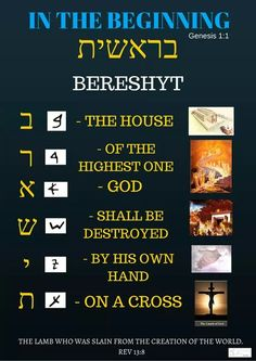 "Bereshyt in Hebrew means ""In the beginning"" This is also the title of book English speakers call Genesis. What Bereshyt means spelled out in Hebrew = The House of the Highest One God shall be destroyed by His own hands on a cross"