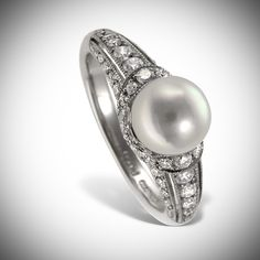 Mikimoto 18 karat white #gold, #pearl and diamond ring. With a vintage look, this #ring has .41 carts of diamonds highlighting a 7mm white akoya pearl. Ring has beautiful high polish finish.