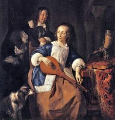 ♪ The Musical Arts ♪ music musician paintings - Gabriel Metsu | A Woman Seated at a Table with Cello & Man Tuning a Violin, c. 1665