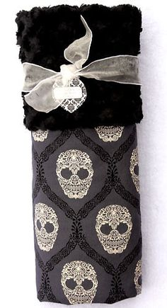 Not your typical baby blanket... Ready To Ship Damask Skull Minky Baby Blanket by babyboos on Etsy, $35.00