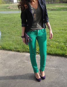 Green Skinnies and Purple Pumps
