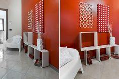 Corridoio #red #rosso #white #bianco #HomeStaging #arredamento #interni