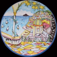 Lovely Positano! Bright and colorful large wall plate