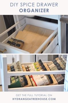 DIY Spice Drawer Organizer, Spice Organization (Video) This DIY tiered spice drawer insert will definitely level up your kitchen organization game! Its tiered structure will allow you to organize all your spices in one drawer in a super tidy way, making p Kitchen Spice Storage, Spice Drawer, Spice Racks, Junk Drawer, Diy Kitchen Decor, Diy Kitchen Cabinets, Home Decor, Kitchen Hacks, Rustic Kitchen