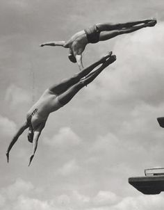 Two divers, 1930s, by William M. Rittase