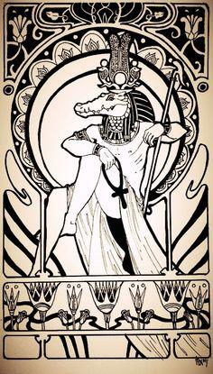 Sobek or Sebek (egyptian god) by schonheit Egyptian Mythology, Egyptian Symbols, Ancient Egyptian Art, Egyptian Goddess, Ancient History, European History, Ancient Aliens, Ancient Greece, American History