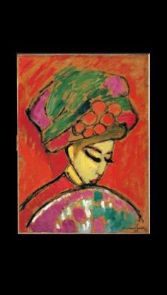"Alexej Von Jawlensky - "" Young Girl in a flowered hat "", 1910 - Oil on board - 67,5 x 49 cm - Albertina Museum Wien, Austria"