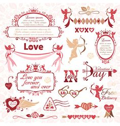 Set of valentines day design elements vector - by ksana-gribakina on VectorStock®