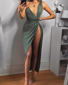 【Chicme Holiday Season OFF sitewide!First order get extra OFF! Asymmetric Ruched Deep V High Slit Maxi Dress 【Chicme Holiday Season OFF sitewide!First order get extra OFF! Asymmetric Ruched Deep V High Slit Maxi Dress Tight Dresses, Sexy Dresses, Cute Dresses, Evening Dresses, Short Dresses, Fall Dresses, Fitted Dresses, Going Out Dresses, Beautiful Dresses