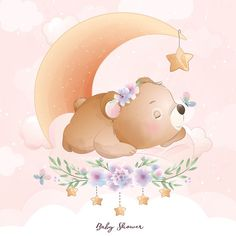 Watercolor Flower Background, Watercolor Rose, Watercolor Illustration, Baby Animal Drawings, Cute Drawings, Doodles Bonitos, Doodle Bear, Panda Lindo, Kids Stamps