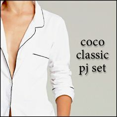 A salute to coco Chanel -  fashions greatest icon - our Coco Classic man-style PJ set in crisp white poplin with black piping…beautifully tailored & supremely comfortable.. http://www.foundling.com.au/collections/wardrobe-essentials/products/coco-classic-pj-set