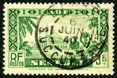 "Senegal 1935 Scott 168 3fr green ""Diourbel Mosque"""