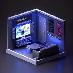 Fortnite on the PlayStation. Kept this console streamer room design pretty clean and minimal. Even with a small space, something cool can be done. Gaming Room Setup, Computer Setup, Gaming Rooms, Isometric Art, Isometric Design, Game Room Design, Small Room Design, Small Game Rooms, Retro Game