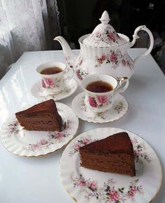 Tea time with homemade chocolate cake and Earl Grey tea.
