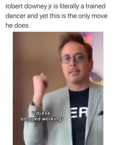 "RDJ has signature move - Robert Downey Jr. S signature move "" Robert Downey Jr. S signature move Best Picture For trends - Avengers Humor, Marvel Jokes, Memes Batman, Funny Marvel Memes, Marvel Actors, Funny Harry Potter Memes, Loki Funny, Funny Avengers, Baby Avengers"