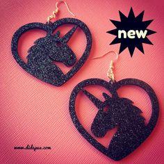 NEW! Black glitter unicorns laser cut earrings
