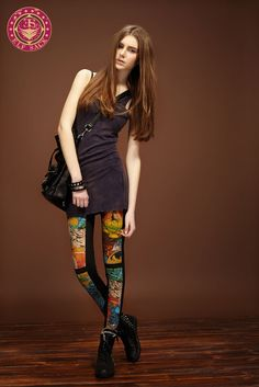 Womens Dye Printed  Leggings Black Tight Pants