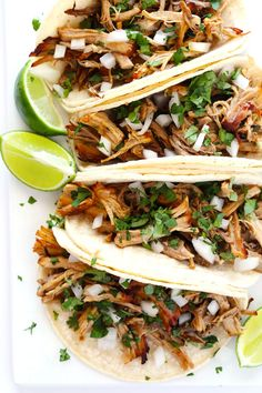 A fabulous new way to get crispy tender pork carnitas using a secret with your slow cooker. These recipe is perfect in tacos, burritos, salads and more!