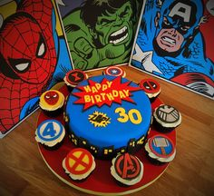 Marvel Superhero Cake and Cupcakes. 30th Birthday. Featuring Avengers, x-men, fantastic four, shield, thor, captain america. spiderman, Black Widow and Dead Pool