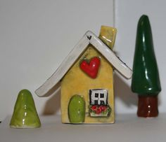 Little Clay House in Yellow with Lime Green Door by HeartHomes, $20.00