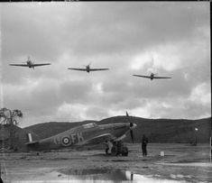 IIB's of No. 81 Squadron of the British Royal Air Force fly over a fourth aircraft while it is being repaired. The Hurricane's were part of No. 151 Wing, the only British air forces to fight on the Eastern Front. The RAF. Navy Aircraft, Ww2 Aircraft, Military Aircraft, Fighter Pilot, Fighter Jets, Image Avion, Aircraft Propeller, Heavy Cruiser, Hawker Hurricane